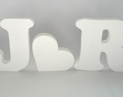 Letras E Cora��o Branco Em Mdf 12cm