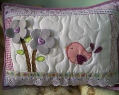almofada em patchwork p�ssaro e flores