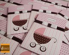 Convite para ch� de beb� carrinho rosa