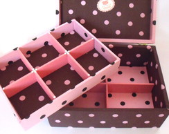 Porta-biju - 10 divis�rias Marrom e rosa