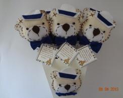 Ursinho Marinheiro Bege, Branco e Azul