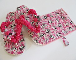 chinelo customizado e toalhinha c/ziper