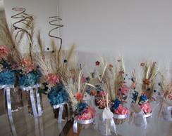 Conjunto de flores secas rosinha&azul I