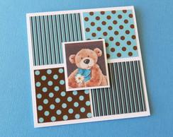 Convite Anivers�rio Urso Marrom E Azul