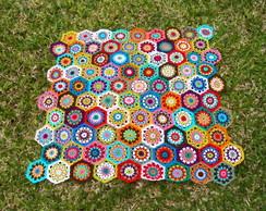 Colcha Hex�gonos em crochet