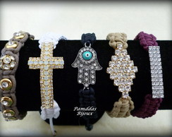 KIT MACRAM� COM STRASS E CRUCIFIXO