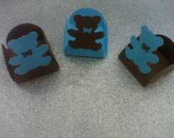 25 Forminhas Ursos Marrom e Azul