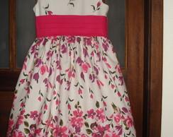 Vestido floral em Tricoline 100% Algod�o