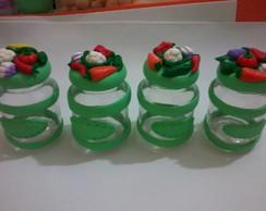 potes de vidro decorados em biscuit