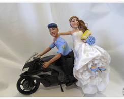 Noivo policial na moto