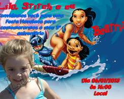 Arte Digital Convite Lilo & Stitch