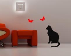 Adesivo decora��o parede gato borboletas