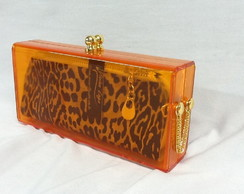 Clutch Acrilica color orange
