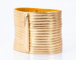 Bracelete em Couro Dourado