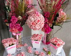 Kit festa flores secas,bolas & vasinhos
