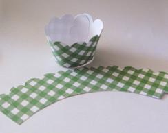 25 Wrappers Para Cupcake Xadrez Verde