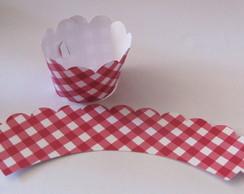 25 Wrappers Cupcake Xadrez Vermelho