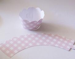 25 Wrappers Cupcake Xadrez Rosa Claro