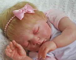 Faixa baby rosa p�rolas & la�o em cetim