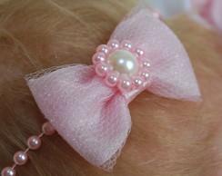 Faixa baby rosa c/ la�o organza & tule