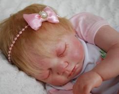 Faixa baby rosa c/ la�o em cetim & tule