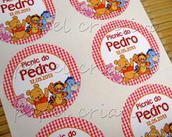 Etiqueta Adesiva Redonda - Ursinho Pooh