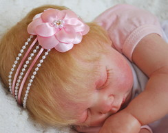 Faixa JASMINE rosa beb�&flor cetim