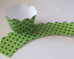 25 Wrappers Cupcake Petit Po� Verde Po�