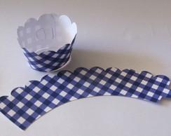 25 Wrappers Cupcake Xadrez Azul Escuro