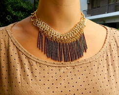 Maxi colar Dourado Franjas Canutilho