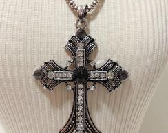 10204- Crucifixo M�dio Prata Velha
