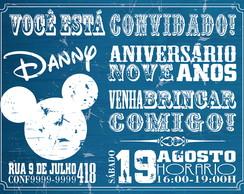 Convite Mickey Navy Vintage Disney
