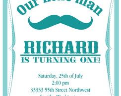 Convite Digital Moustache Baby Acqua