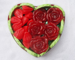Cora��o flores e frutos