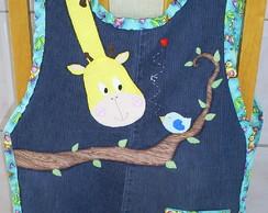 Avental Bata Girafa com Jeans Reciclado