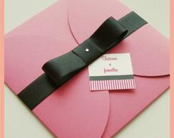 Convite envelope pink com la�o preto