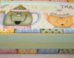 Caixa de ch� em d�coupage e pintura