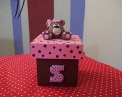 Caixinha ursa marrom e rosa
