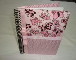 Caderno P com capa forrada de tecido