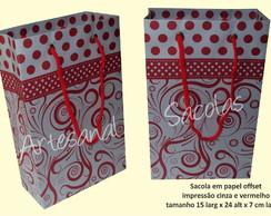 Sacola cinza /impress�o vermelha 15x24x7
