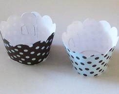 25 Wrappers Cupcake Petit Po� Azul Po�
