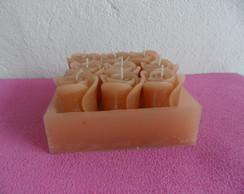 velas formato de rosa com cachep�