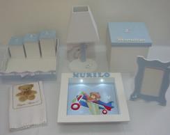 Kit Higiene Luxo Clean Branco e Azul