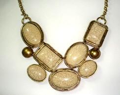 Maxi Colar Ouro velho com pedras Nude