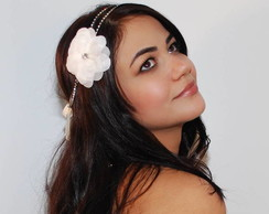 Headband strass prata&flor off white