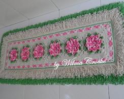 Tapete franja com flor cam�lia em croch�