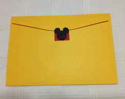 Envelope com Aplique do Mickey e Minnie