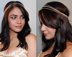 Headband p�rola OFF WHITE&strass dourado