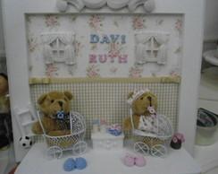porta maternidade casal de ursos gemeos