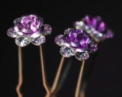 Grampo PONTO DE LUZ mini flor lil�s